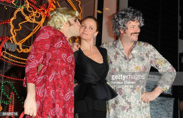 Noel Fielding Stella McCartney and Julian Barratt attend the switch on ceremony for the Stella McCartney store christmas lights on November 23 2009...