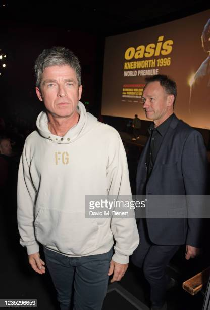 """Noel Gallagher and Alec McKinlay, Oasis Manager at Ignition Management, attend the World Premiere of """"Oasis Knebworth 1996"""" at the Picturehouse..."""