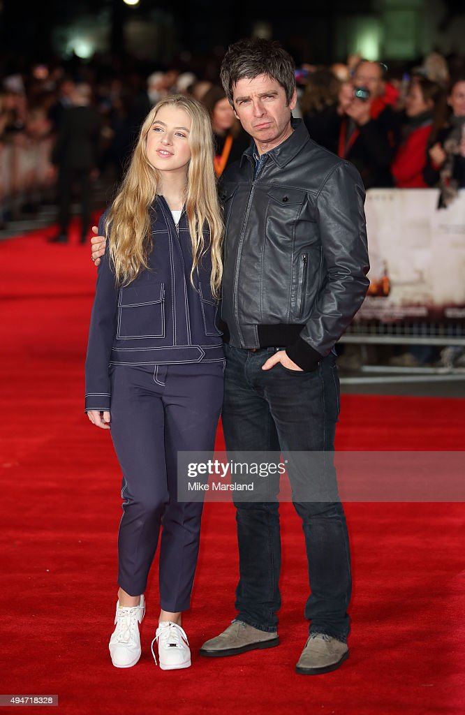Noel Gallagher and Anais Gallagher attend the 'Burnt' European premiere at the Vue West End on October 28, 2015 in London, England.