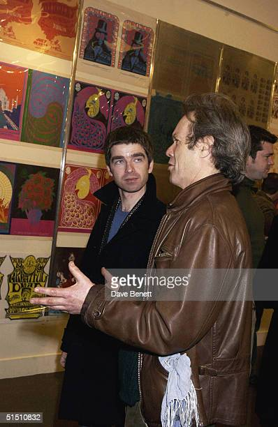 Noel Gallagher and Chris Jagger attend the Psychedelia Posters Exhibition at Sothebys in Olympia on January 7 2003 in London