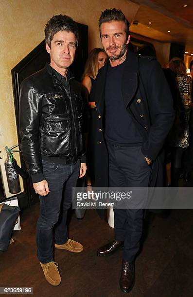 Noel Gallagher and David Beckham attend the Kent Curwen dinner with Mr Porter at Little Social on November 16 2016 in London England