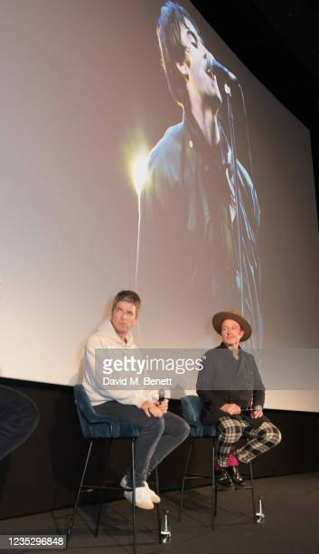 """Noel Gallagher and Director Jake Scott attend the World Premiere of """"Oasis Knebworth 1996"""" at the Picturehouse Central on September 16, 2021 in..."""