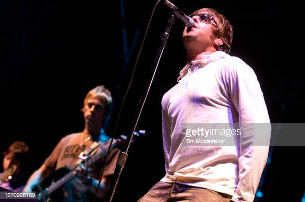 Noel Gallagher and Liam Gallagher of Oasis perform during day two of the Austin City Limits Music Festival at Zilker Park on September 24, 2005 in...
