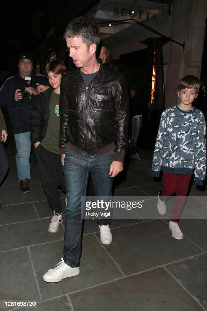 Noel Gallagher and Sara MacDonald and their sons Donovan Gallagher and Sonny Gallagher seen leaving Scott's after Sara's birthday dinner celebration...