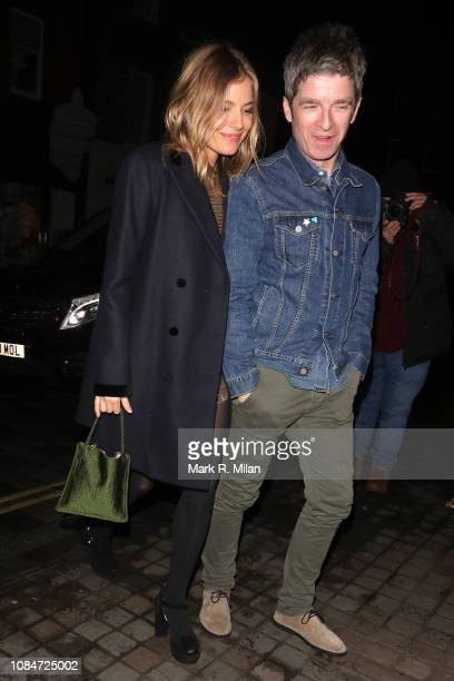 Noel Gallagher and Sienna Miller are seen at Scott's restaurant on December 19 2018 in London England