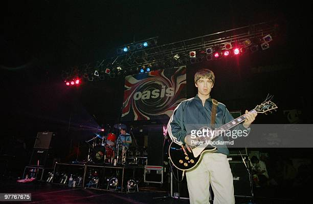 Noel Gallagher of British rock group Oasis live at the Astoria in London, 19th August 1994.