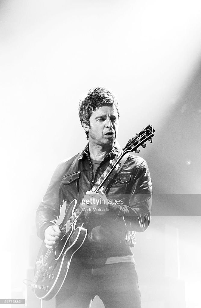 Noel Gallagher of Noel Gallagher's High Flying Birds performs live for fans at the 2016 Byron Bay Bluesfest on March 27, 2016 in Byron Bay, Australia.