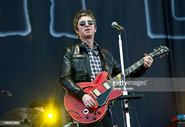 Noel Gallagher of Noel Gallagher's High Flying Birds performs on the main stage on day 4 of The Isle of Wight Festival at Seaclose Park on June 24...