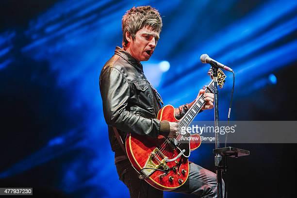 Noel Gallagher of Noel Gallagher's High Flying Birds performs on the main stage for Best Kept Secret Festival at Beekse Bergen on June 20 2015 in...