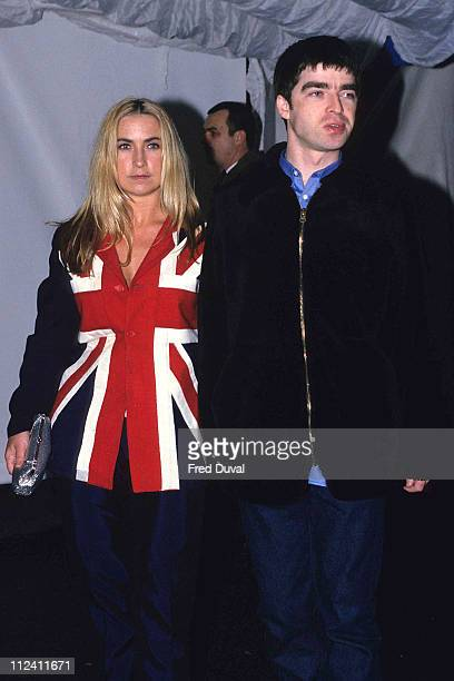 Noel Gallagher of Oasis with Meg Matthews at the Brit Awards in 1995