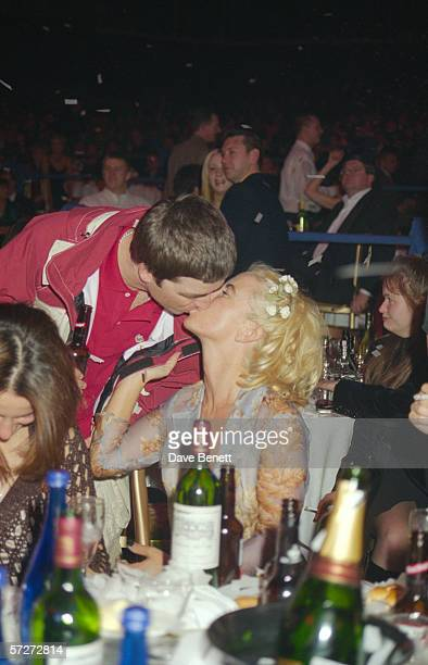 Noel Gallagher of rock group Oasis with his wife Meg Matthews at the Brit Awards 24th February 1997