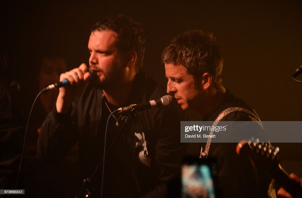 Noel Gallagher (R) performs with Jamie Reynolds of YOTA at XOYO on June 13, 2018 in London, England.