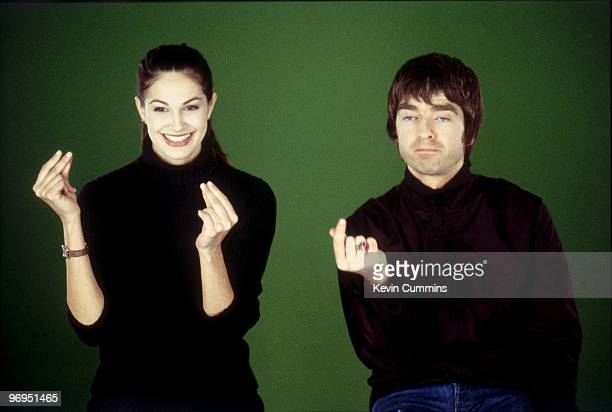 Noel Gallagher singer and guitarist with British band Oasis clicking his fingers during a television interview in Paris France on February 23 2000...