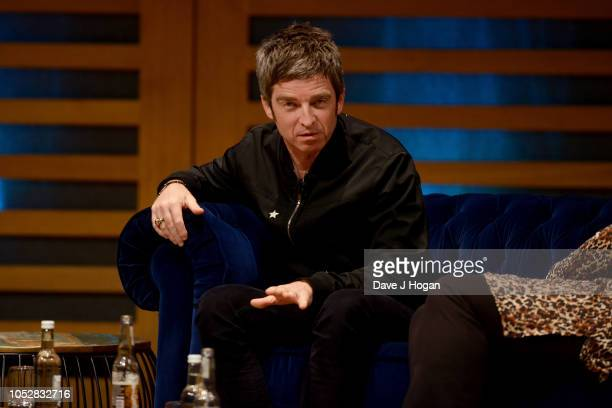 Noel Gallagher speaks on stage during the launch of his new book Any Road Will Get Us There at Kings Place on October 23 2018 in London England
