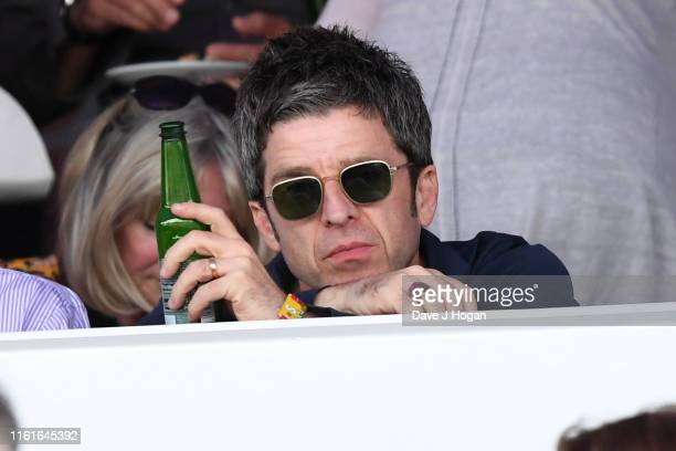 Noel Gallagher watches Neil Young perform as part of a historic double bill with Bob Dylan at Hyde Park on July 12, 2019 in London, England.