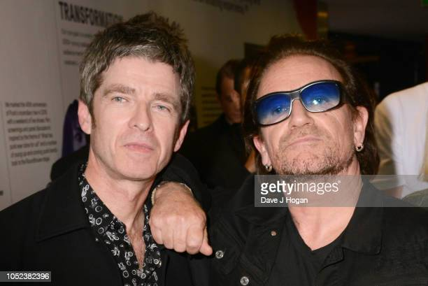 Noel Gallagher winner of Q Best Solo Artist and Bono pose at the Q Awards 2018 held at The Roundhouse on October 17 2018 in London England