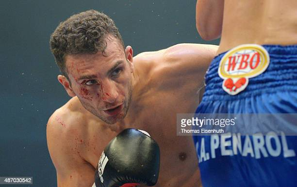 Noel Gevor of Germany in action during his WBO international cruiserweight championship fight against Daniel Sanabria of Argentina at the...