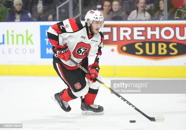 Noel Hoefenmayer of the Ottawa 67s skates with the puck in the first period during OHL game action against the London Knights at Budweiser Gardens on...
