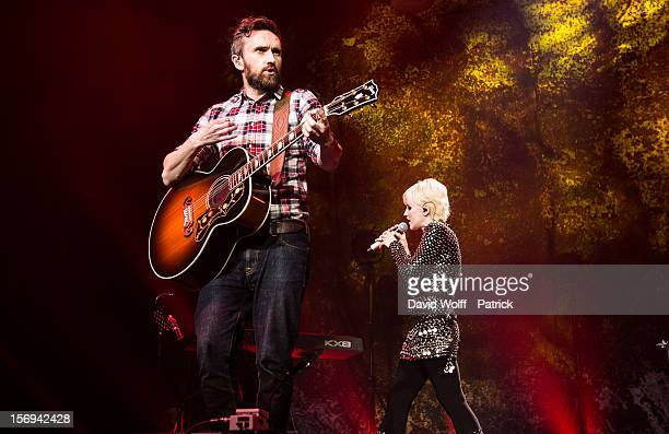 Noel Hogan and Dolores O'Riordan from The Cranberries perform at Le Zenith on November 25 2012 in Paris France