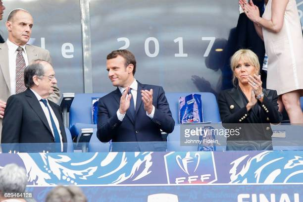 Noel Le Graet president frenc federation and Emmanuel Macron french president before the National Cup Final match between Angers SCO and Paris Saint...