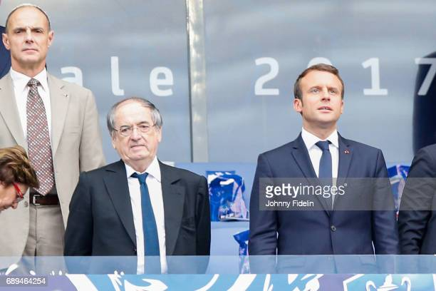 Noel Le Graet president french federation and Emmanuel Macron french president before the National Cup Final match between Angers SCO and Paris Saint...