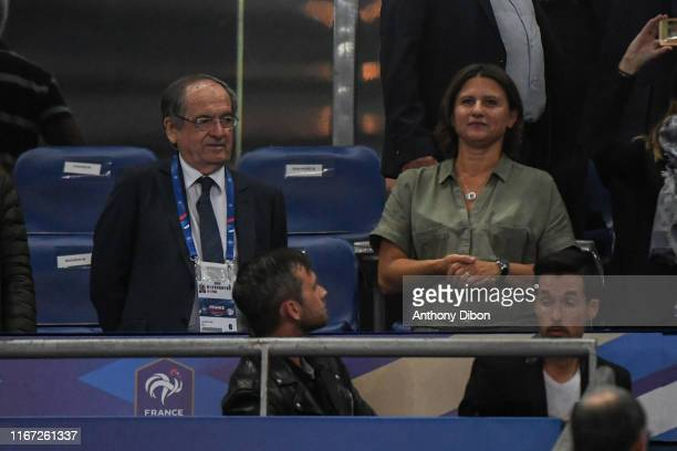 Noel Le Graet president of Football french federation and Roxana Maracineanu sports minister during the UEFA Qualifier European Championship match...