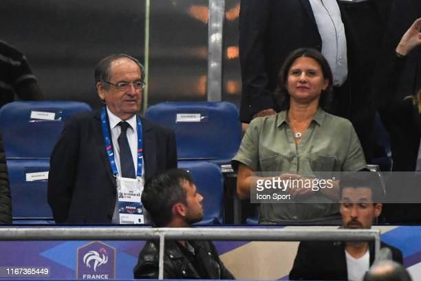 Noel Le Graet president of Football French Federation et Roxana Maracineanu sports minister during the UEFA Qualifier European Championship match...