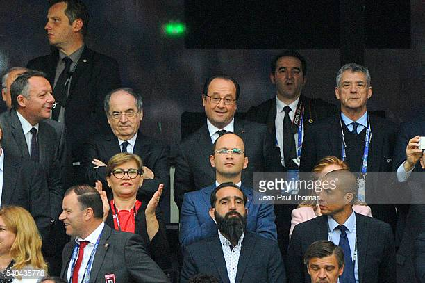 Noel le Graet president of french federation and Francois Hollande before the UEFA EURO 2016 Group A match between France and Albania at Stade...