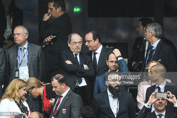 Noel le Graet president of french federation and Francois Hollande during the UEFA EURO 2016 Group A match between France and Albania at Stade...
