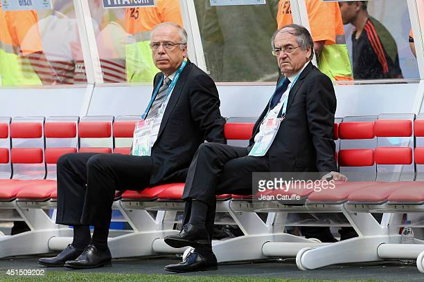 Noel Le Graet President of French Football Federation attends the 2014 FIFA World Cup Brazil Round of 16 match between France and Nigeria at Estadio...
