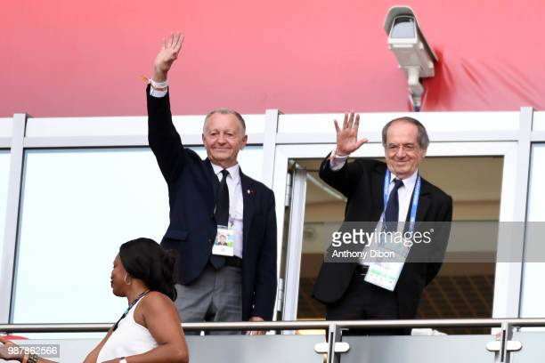 Noel Le Graet president of the French federation Jean Michel Aulas president of Lyon during the FIFA World Cup Round of 16 match between France and...