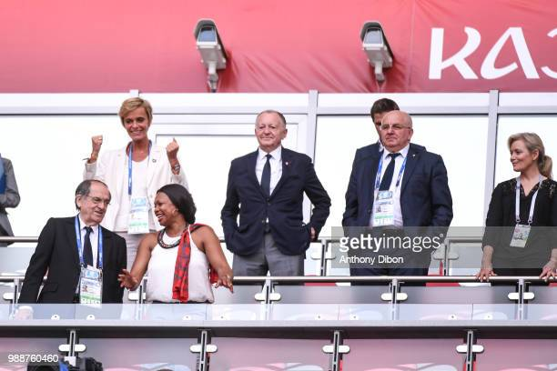 Noel Le Graet president of the French federation Jean Michel Aulas president of Lyon Nathalie Boy de la Tour president of LFP and Minister of Sports...