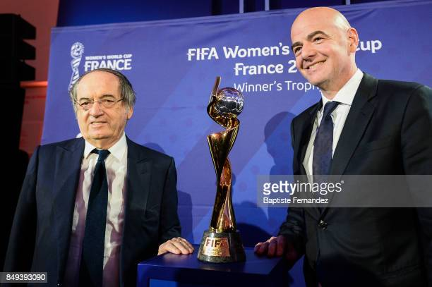 Noel Le Graet president of the French Football Federation and Gianni Infantino president of the FIFA with the FIFA Women's World Cup during the...