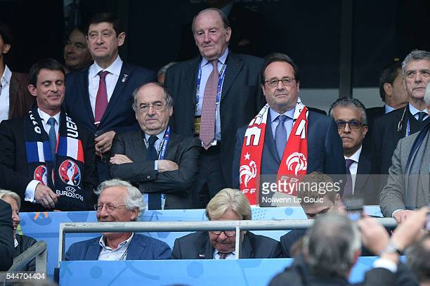 Noel Le Graet president of the french football federation and Francois Hollande France president during the UEFA Euro 2016 Quarter Final between...