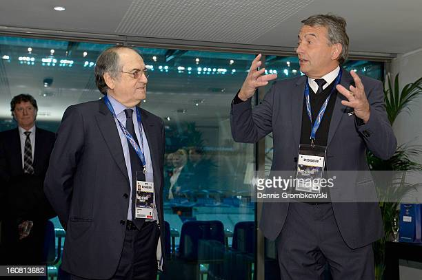 Noel Le Graet president of the French Football Federation FFF and Wolfgang Niersbach president of the German Football Federation DFB hold a speach...