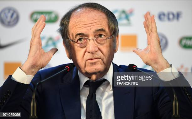 Noel Le Graet President of the French Football Federation speaks during a press conference at the press center in Istra west of Moscow on June 14...