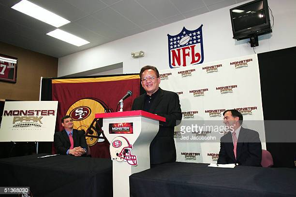 Noel Lee founder of Monster Cable Company is seen at a press conference announcing the naming rights of the San Francisco 49ers stadium to Monster...