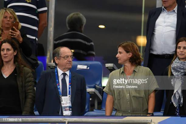 Noel Legraet president of the French Football Federation and Roxana Maracineanu during national anthems before the 2020 UEFA European Championships...
