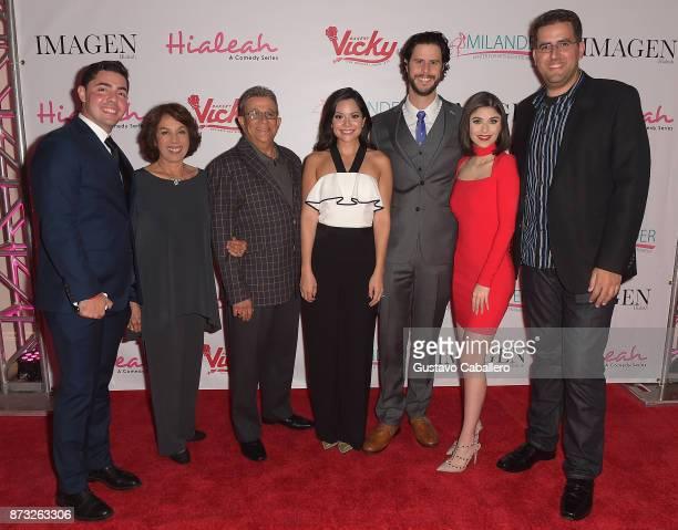 Noel Mirabal Martha Velasco lMarcos Casanova Melissa Carcache David Vargas Elizabeth Elias and Javier Mayol attends the Hialeah Series Premiere at...