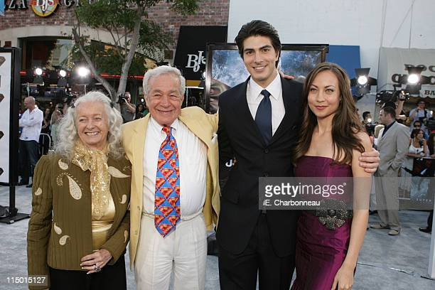 Noel Neill and Jack Larson who starred as Lois Lane and Jimmy Olsen in the 1950s TV series Adventures of Superman with Brandon Routh and Courtney Ford