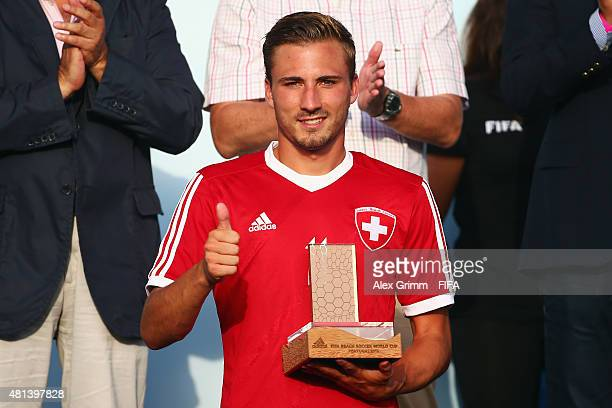 Noel Ott of Switzerland winner of the adidas Bronze Scorer Award poses after the FIFA Beach Soccer World Cup Portugal 2015 Final between Tahiti and...