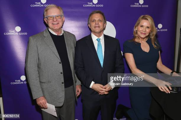 Noel Patton Douglas Brinkley and Patricia Duff attend 'Trump Year One' Presidential Panel on January 17 2018 in New York City
