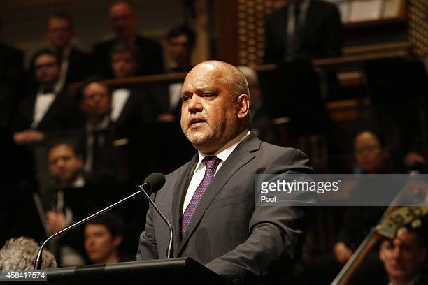 Noel Pearson delivers a speech at the state memorial service for former Australian Prime Minister Gough Whitlam at Sydney Town Hall on November 5...