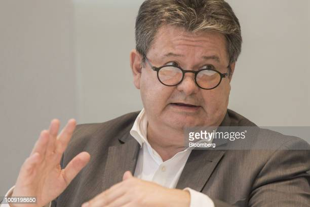 Noel Prioux chief executive officer of Carrefour Brazil speaks during an interview in Sao Paulo Brazil on Wednesday Aug 1 2018 Carrefour Brasil the...