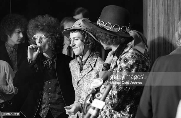Noel Redding Mitch Mitchell and Jimi Hendrix of The Jimi Hendrix Experience pose for photos at a multi band press conference titled 'The British Are...