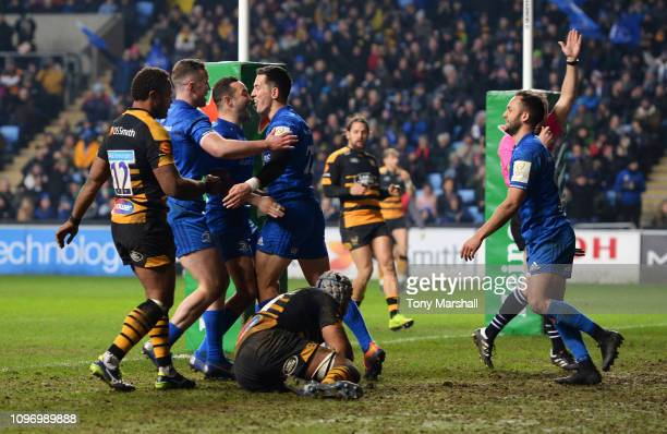 Noel Reid of Leinster celebrates scoring his sides fourth try with team mates during the Champions Cup match between Wasps and Leinster Rugby at...
