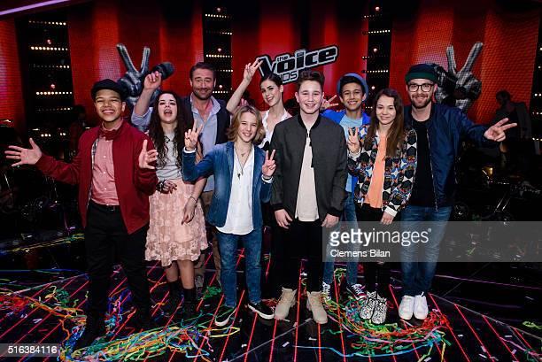 Noel Shanice Sasha aka Sascha Schmitz Matteo Markus Lena MeyerLandrut Ridon Lukas Lara and Mark Forster attend the 'The Voice Kids' Semi Finals on...