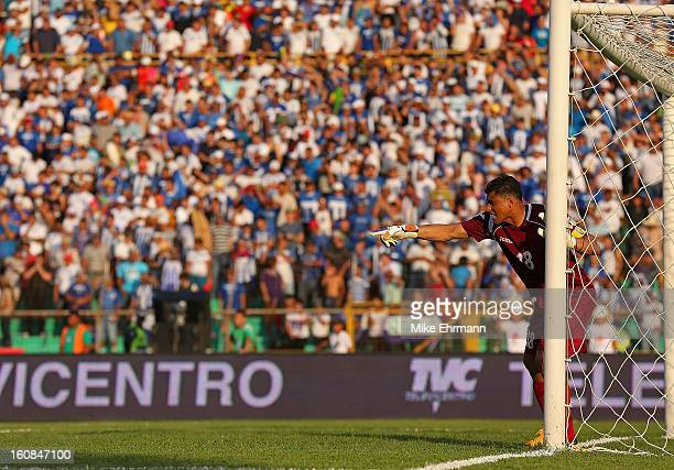 Noel Valladares of Honduras calls a play during a FIFA 2014 World Cup Qualifier against the United States at Estadio Olimpico Metropolitano on...
