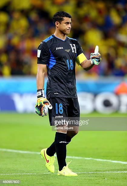 Noel Valladares of Honduras gestures during the 2014 FIFA World Cup Brazil Group E match between Honduras and Ecuador at Arena da Baixada on June 20...
