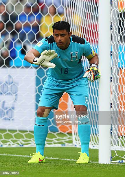 Noel Valladares of Honduras looks on during the 2014 FIFA World Cup Brazil Group E match between France and Honduras at Estadio BeiraRio on June 15...